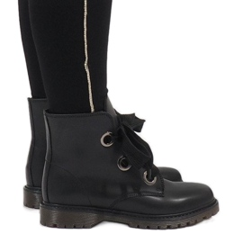 Kayla Shoes negro Botas negras con cordones PF276