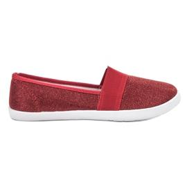 Renda rojo Zapatillas Brocade