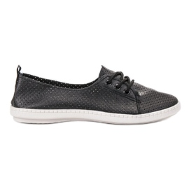 SHELOVET negro Zapatillas Con Eco Cuero