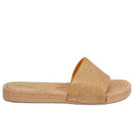 Amarillo Zapatillas de mujer de oro JFF-V182 Golden