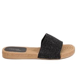 Negro Zapatillas negras de mujer JFF-V182 negras