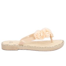 Marrón Chanclas con flores beige YJL-1818 Beż