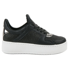 Ideal Shoes negro Zapatillas Con Brocado