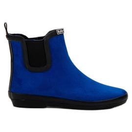 Kylie azul Botas de cuero de gamuza