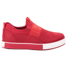 SHELOVET rojo Zapatillas de gamuza
