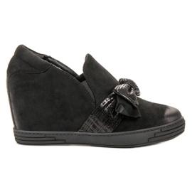 Vinceza negro Zapatos de cuña vicios