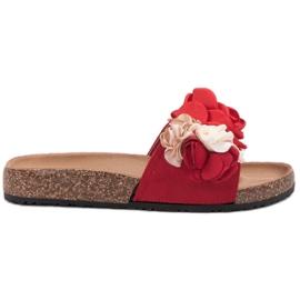 SHELOVET rojo Zapatillas Con Flores