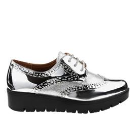 Gris Zapatos con cordones plateados TL-60