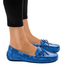 Bailarinas mocasines azules con un lazo F03-3