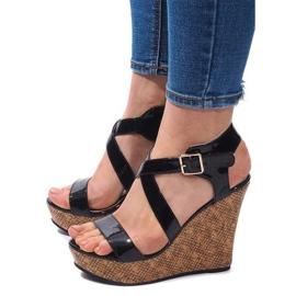 Negro Sandalias de cuña S260 Black