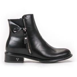Negro VINCEZA Zipper Boots
