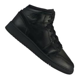 Negro Nike Air Jordan 1 Mid Gs Jr 554725-090 calzado