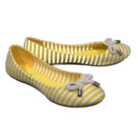 Bailarinas a rayas con lazo amarillo 16-C