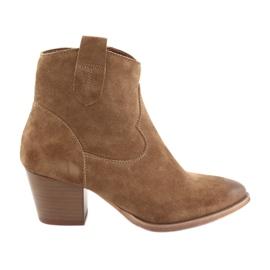 Anabelle 1466 botas vaqueras de ante Camel marrón