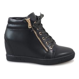 Zapatillas negras con un deslizador dorado TL-22 negro