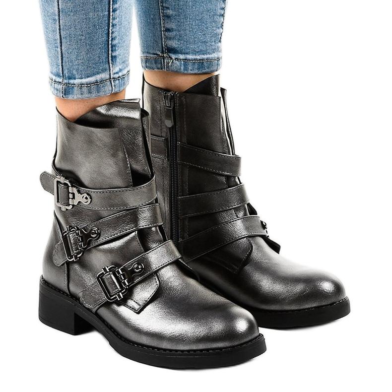 Botas grises de mujer con hebillas HQ1588