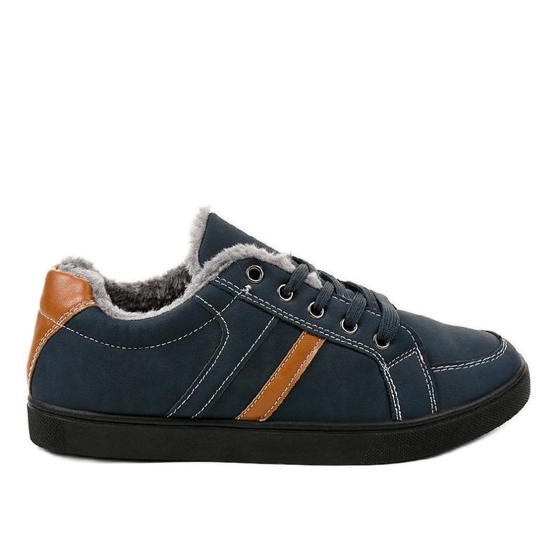 Zapatillas de hombre azul oscuro con piel E756M-2 marina
