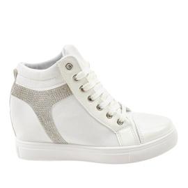 Zapatillas de cuña blancas con lentejuelas AN2959 blanco