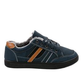 Zapatillas de hombre azul oscuro con piel E753M-2 marina