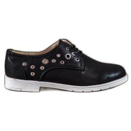 SHELOVET negro Zapatos atados con cuero ecológico