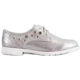 SHELOVET gris Zapatos atados con cuero ecológico