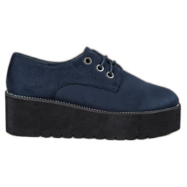SHELOVET azul Zapatos de ante en la plataforma