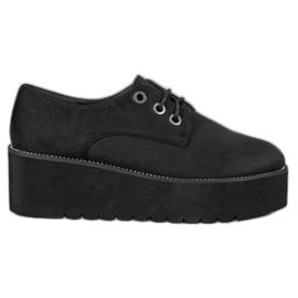 SHELOVET Zapatos de ante en la plataforma negro