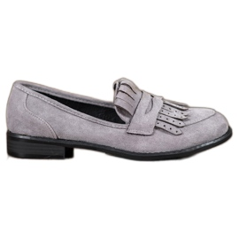 SHELOVET Mocasines con flecos gris