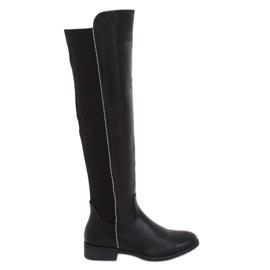 Negro Botas negras con parte superior elástica negra 17005A-128 Negra