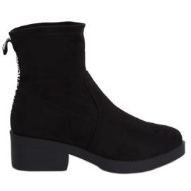 Negro Botas de tacón bajo negro W868 Negro