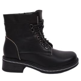 Negro Botas con cordones para mujer C137 Negro