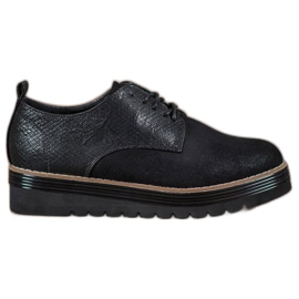 SHELOVET negro Zapatos en la plataforma con estampado de serpiente