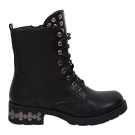 Negro Botas negras con tachuelas negras KL-599 Negras