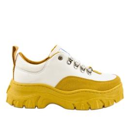 Calzado deportivo de mujer blanco y amarillo de moda PF5329
