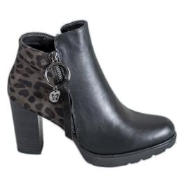 Filippo negro Botas de mujer con estampado de leopardo