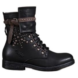 Super Me negro Botas con cordones de moda