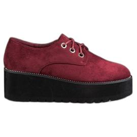 SHELOVET rojo Zapatos de ante en la plataforma