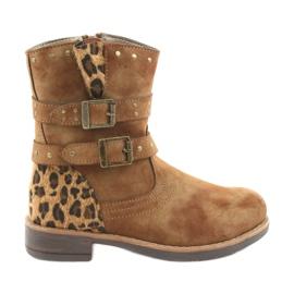 American Club Botas de leopardo chorros marrones americanos marrón