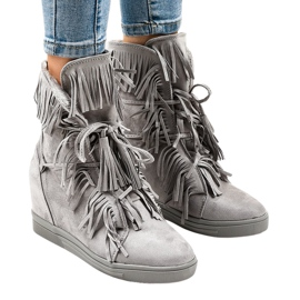 Zapatillas de cuña grises con flecos H6600-36