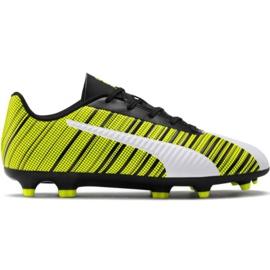 Zapatillas de fútbol Puma One 5.4 Fg Ag Jr 105660 03 blanco, negro, amarillo amarillo