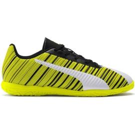 Botas de fútbol Puma One 5.4 It Jr 105664 04 blanco, negro, amarillo amarillo