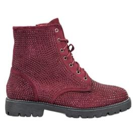 Sweet Shoes Botas de ante burdeos rojo