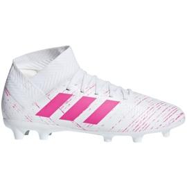 Adidas Nemeziz 18.3 Fg Jr CM8506 Calzado de fútbol blanco, rosa blanco