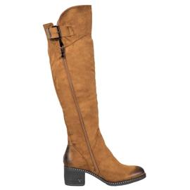 VINCEZA Camel Boots marrón