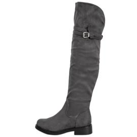Ideal Shoes Elegantes botas hasta el muslo con una hebilla gris