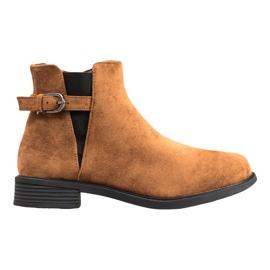 Ideal Shoes Botas de gamuza marrón