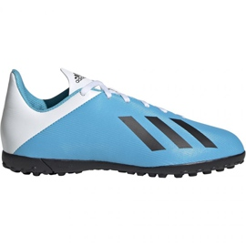 Adidas X 19.4 Tf Jr F35347 Calzado de fútbol blanco, azul azul