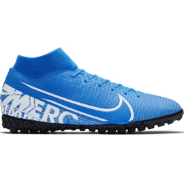 Zapatillas de fútbol Nike Mercurial Superfly 7 Academy M Tf AT7978 414 blanco, azul azul