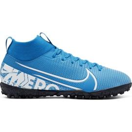 Zapatillas de fútbol Nike Mercurial Superfly 7 Academy Tf Jr AT8143 414 azul blanco, azul