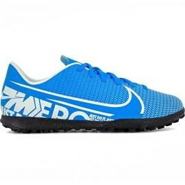 Zapatillas de fútbol Nike Mercurial Vapor 13 Club Tf Jr AT8177 414 blanco, azul azul